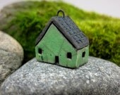 Grass GREEN...Saggar Fired Rustic House Pendant / Ornament