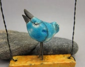 S(w)inging BlueBird  / Saggar Fired Ornament