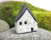 Textured WHITE...Saggar Fired Rustic House Pendant / Ornament