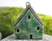 Mossy GREEN...Saggar Fired Rustic House Pendant / Ornament