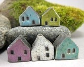 5 Saggar Fired Miniature House Beads...Blue Lime Purple White Turquoise Green