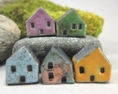 5 Saggar Fired Miniature House Beads...Purple Green Light Blue Copper Green / Red Yellow