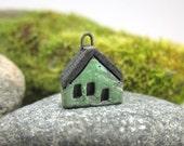 GREEN.. Saggar Fired Miniature House Charm/Pendant