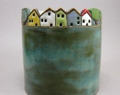 Happy Street...Whimsical Porcelain Cup