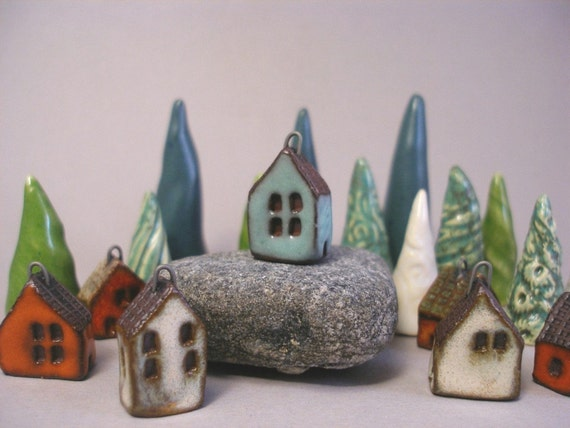 TURQUOISE - Tiny House Pendant in Red Stoneware
