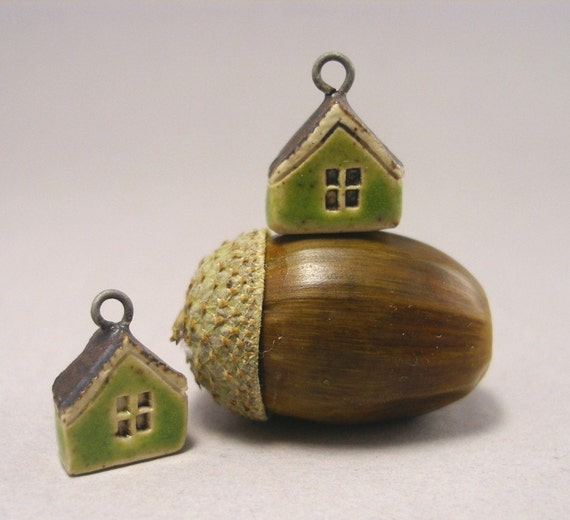 Tiny GREEN Cottage Earrings in Stoneware