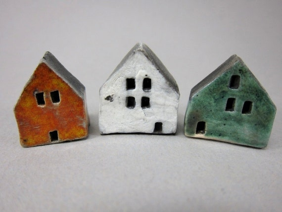 Tiny Saggar Fired Houses...Orange - White - Green