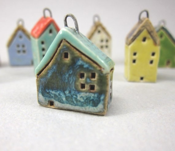 Tiny Frosty BLUE House Pendant in Stoneware