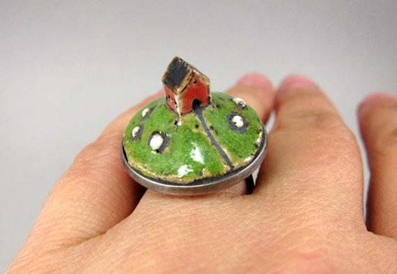 Sheep Barn...Miniature Landscape Ring in Stoneware