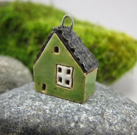Big Window...Grass GREEN...Miniature Cottage Pendant in Stoneware