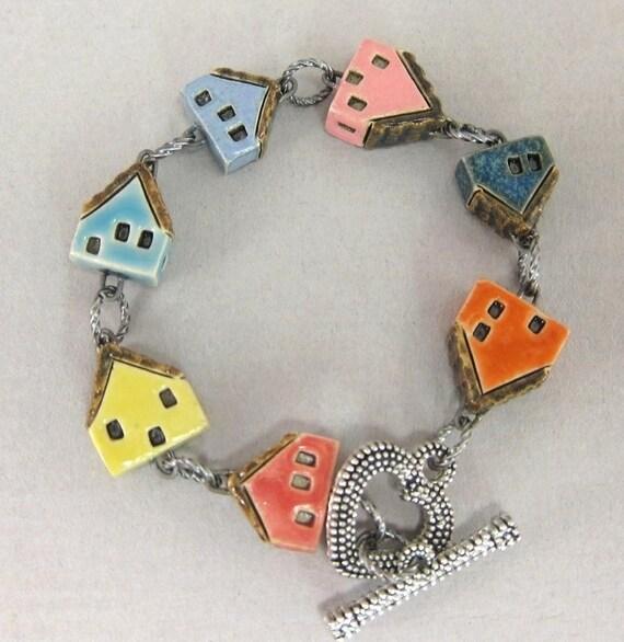 Maisons de bonbons... Bracelet en porcelaine... Orange bleu pervenche rose bleu jaune rouge