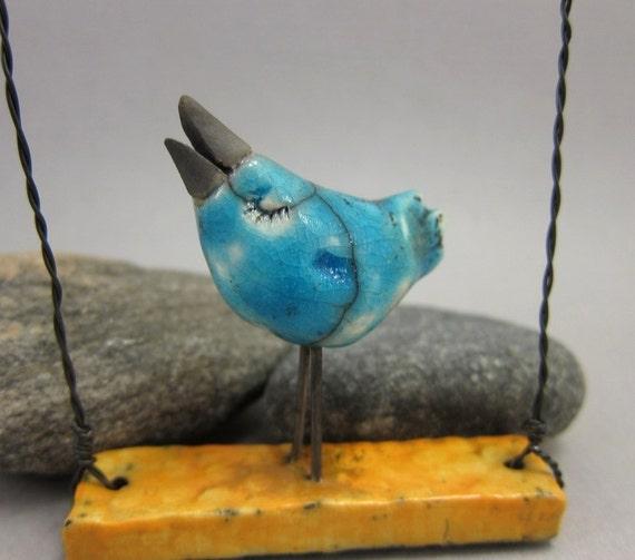 S(w)inging BlueBird  / Saggar Fired Ornament