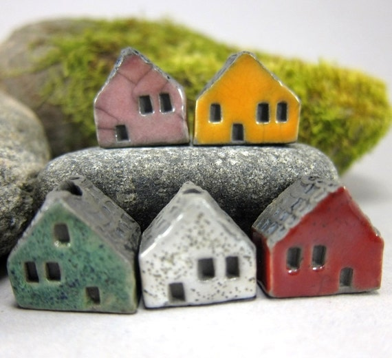 5 Saggar Fired Miniature House Beads...Pink Yellow Green White Red