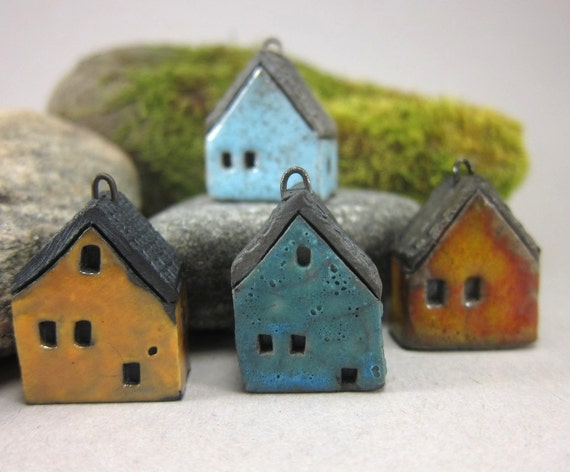 SECONDS...4 Saggar Fired House Pendants