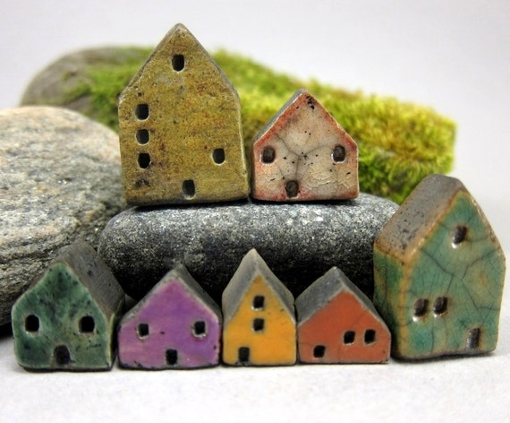 Lucky Nr. 7...Saggar Fired Rustic Miniature Houses...White Blue Purple Green Brown Yellow Orange