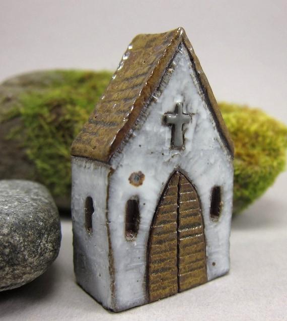 White Chapel...Rustic Miniature House in Stoneware