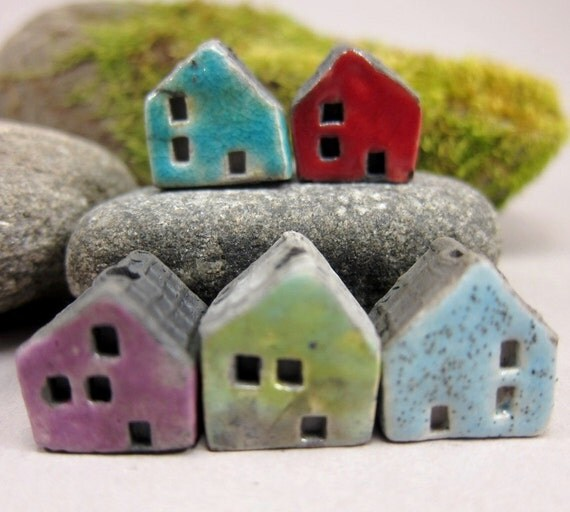 5 Saggar Fired Miniature House Beads...Crackled Blue Red Purple Copper Green Light Blue