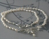 Lily Nouveau Pearl Necklace--Genuine Fresh Water Pearls and Cast Sterling Silver