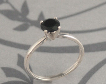 Plain Jane Faux BLACK Diamond Engagement Ring--Custom Sized and Hand Set