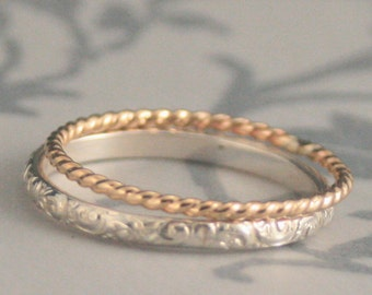 Rococo Royalty Stacking Set~Thin Sterling Silver Swirl Patterned Stack Ring~Thin Gold Twist Ring~Stacking Rings~Silver and Gold Bands
