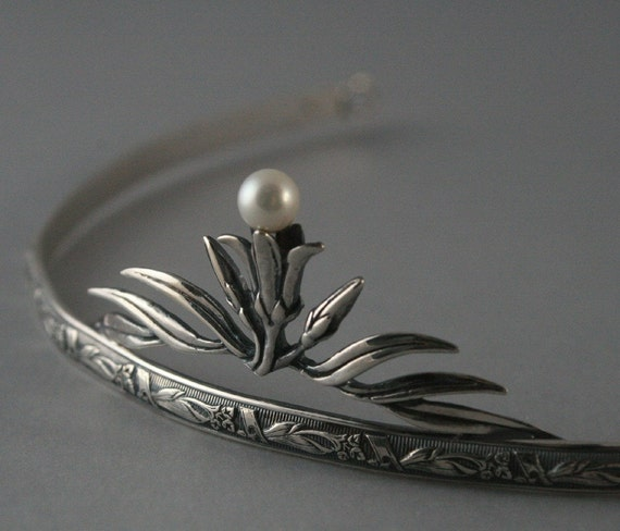 Lily Nouveau Tiara--Solid Sterling Silver set with a Genuine Fresh Water Pearl-Bridal Tiara -Flower Pattern Silver Tiara -Elegant and Simple