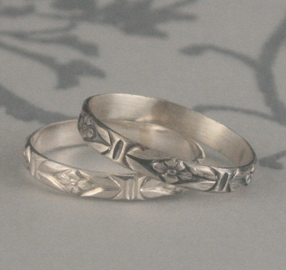 Antique Style Ring--Romance in the Garden--Sterling Silver Wedding Band--Stacking Ring-Patterned Silver Ring-Flower Band--Vintage Style Ring