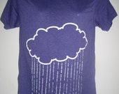 Destroy Cloud Tee White Print on Purple Tri-Blend Tee (M)