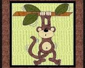 Monty The Monkey Applique Quilt Block-PDF Pattern by MadCreekDesigns