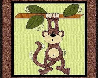 Monty The Monkey Applique Quilt Block-PDF Pattern by MadCreekDesigns