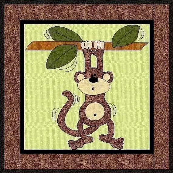 Monty The Monkey Applique Quilt Block-PDF Pattern by : monkey quilt pattern - Adamdwight.com
