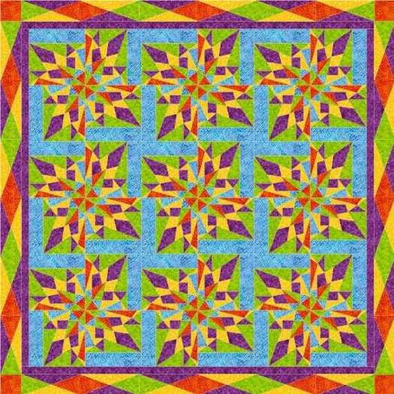 MardiGras Star Foundation PaperPiece Quilt- PDF Pattern by MadCreekDesigns