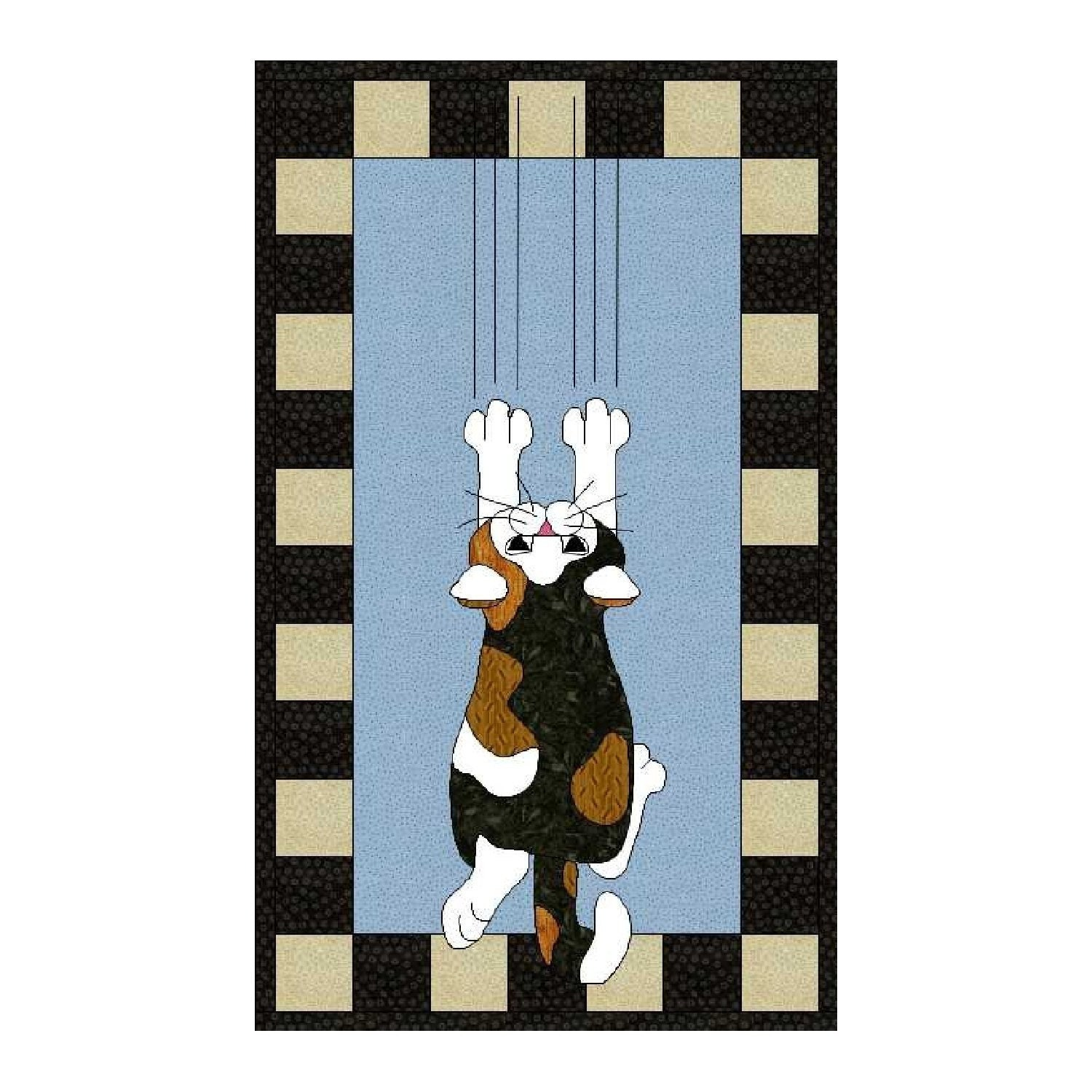 Hang In There Cat Applique Wallhanging Pdf By Madcreekdesigns