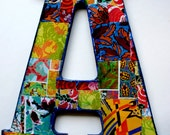 "Large decoupage wood letter 'A', Collaged Letter 10.5"" tall, Home Decor letter 'A', Collaged wall hanging letter, Wood Letter."
