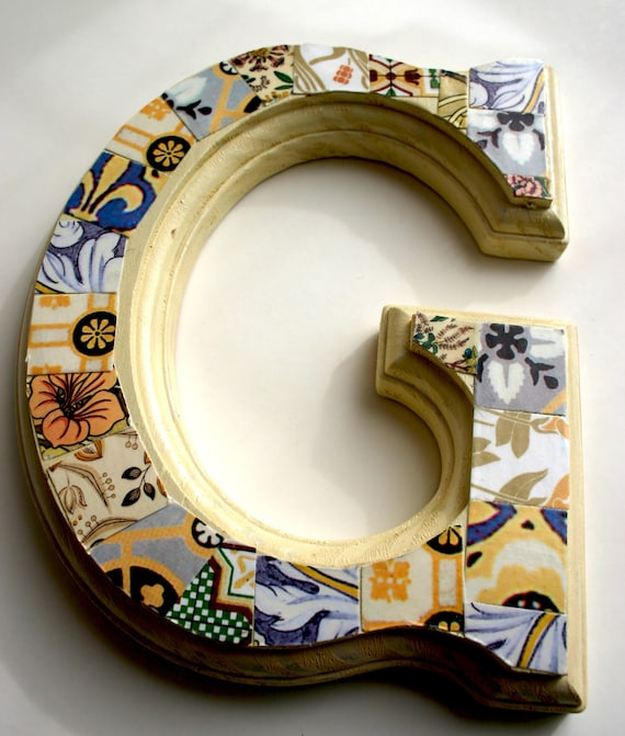 """Hand decorated 'G' wood letter 6.5"""", Home decor, Wall decorations, Wall hanging, Wood letter."""