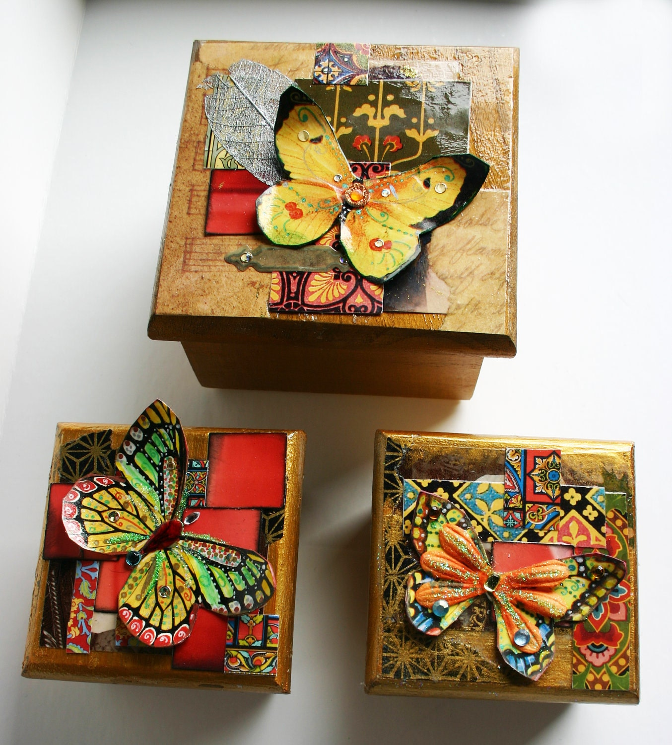 Wooden craft boxes to decorate -  Zoom