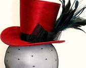 Red Silk Mad Hatter-Style Mini Top Hat