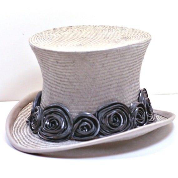 Silver Grey Straw Top Hat