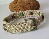 Hemp Dog Collar with Green and Brown Wood Beads