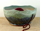 Large Asheville mountains pottery yarn bowl