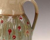 Crimsom Clover Lemonade\/Ice Tea Pitcher- Handmade in North Carolina by Suzanne Rehbock