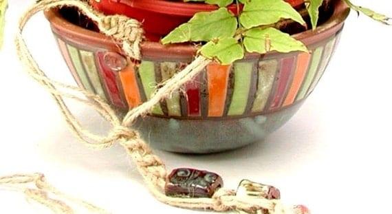 Handmade Baskets North Carolina : Kaleidoscope of colors hanging basket planter handmade in