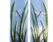 Dragonfly Marsh Fused Art Glass Wall Panels
