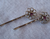 2 Filigree Flower Bobby Pins style 1 - pastel colors