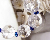 Chunky Crystal Beads w Shiny Royal Blue Spacers Necklace