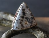 Druzy Jasper and Champagne Diamond Ring in 14kt Gold and Sterling Silver