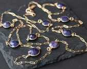Long Rose Cut Blue Sapphire Station Necklace in 14kt Gold- chain, long necklace, layered