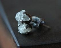 Rough Diamond Stud Earrings- oxidized sterling silver, bridal jewelry, prong setting, natural diamond, diamond studs, raw diamond