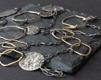 Long Organic Mixed Metal Necklace