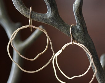 Organic Gold Hoop Earrings- 14kt gold, hammered, simple, hoops, recycled