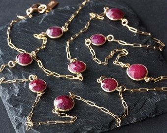 Long Rose Cut Ruby Station Necklace in 14kt Gold